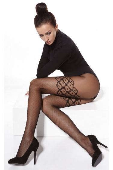 Lucy - Collants femme sexy noir effet bas résille - Adrian