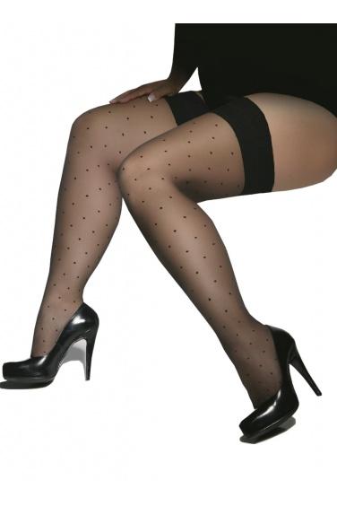 Gwenn - Bas noirs autofixants plumetis pour femmes rondes