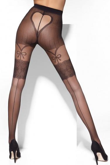Lora - Collant noir sexy effet bas couture - Adrian