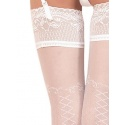 Bas sexy autofixant blanc à motif effet laçage - Ballerina