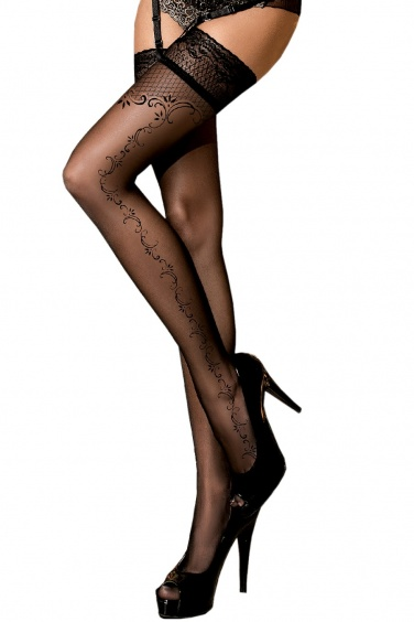 Bas noir autofixant à motifs fantaisie - Ballerina