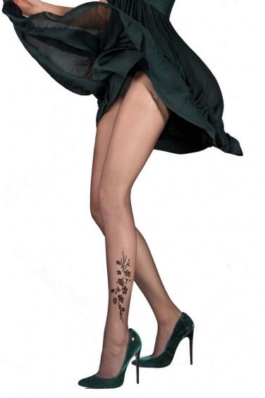 Jasmine - Collant effet tattoo floral 20 den - Gabriella