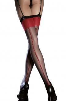 Anais - Bas Sexy Noir et Rouge à motif Couture - Fiore