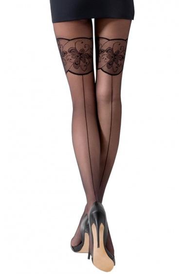 Ti026 - Collant Sexy Noir effet Bas Couture 20 deniers - Passion