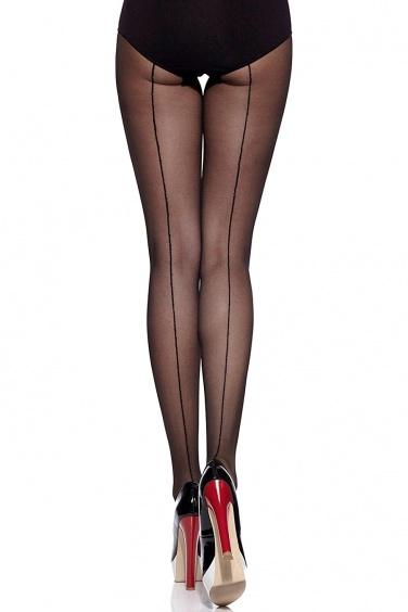 Linette - Collant Sexy noir à Couture Fin 20 deniers - Gabriella