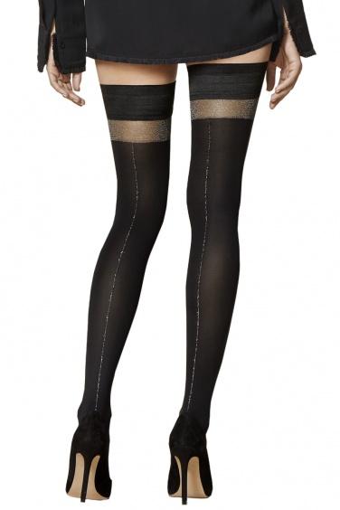 Seduce - Bas Autofixant Noir Opaque Couture Brillante - Fiore