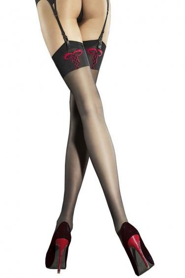 Fiore Bas nylon noir et rouge pour porte jarretelles - Incontra ebda7c88d6e