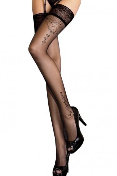 Bas noir sexy autofixants motif couture - Ballerina