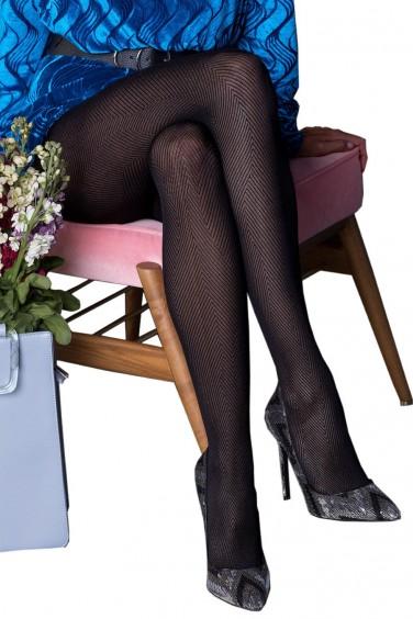 Grace - Collant Noir Femme à Motifs Géométriques - Gabriella -