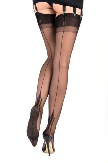 Memphis Heel - Bas Couture Sexy Nylon Noir - Gio