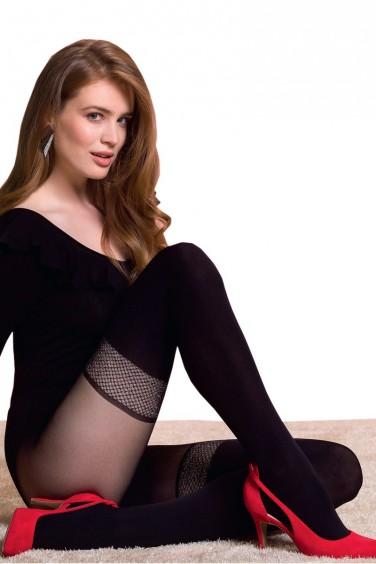 Sonya - Collant Femme Ronde effet Bas Noir - Gabriella