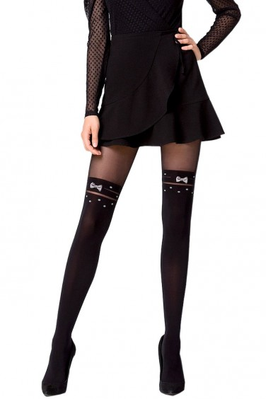 Click Clack - Collant Femme Noir Opaque effet Bas - Knittex