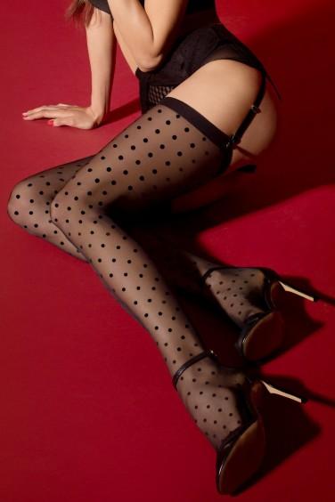 Louise - Bas Noir Grandes Tailles pour Porte-jarretelles - Fiore