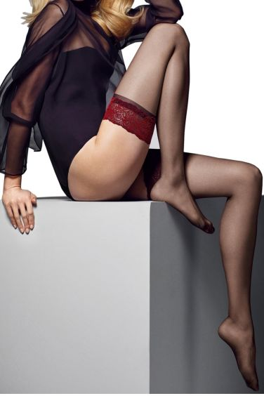 Alessandra - Bas Autofixant Noir Jarretière Rouge - Veneziana