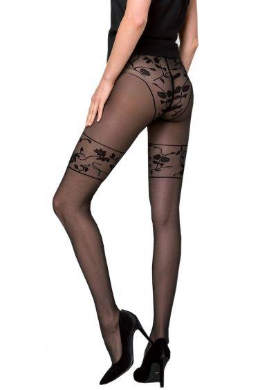 Claire - Collant Fantaisie Noir à Motif Floral - Knittex