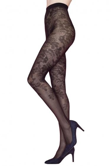 Collant Bloom - 40 deniers motif fleurs sur les jambes