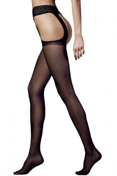 Sexy Strip - Collant noir ouvert effet Porte Jarretelles