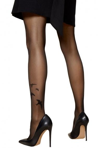 Rondini Fiore - Collant effet tatouage motif hirondelles