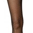 Lumière - Collant noir plumetis motif résille - Fiore
